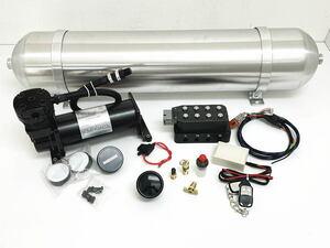 【エアサス】 マネージメントシステム 480コンプレッサー 4独 電磁弁 エアサスメーター エアサスリモコン 5ガロンアルミシームレスタンク
