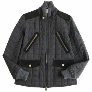 美品▽グッチ エンブレムワッペン付き スウェードレザー使い 中綿入り ダブルZIPUP キルティングジャケット ブラック 48 イタリア製 正規品