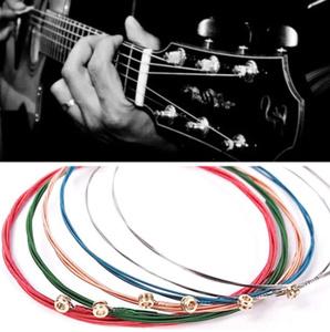 【新品】1セット6個 レインボー カラフル ギター弦 アコースティック フォークギター用 E-A クラシックギター マルチ色 ギターパート