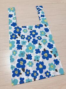 ハンドメイド エコバッグ トートバッグ 花柄1 マリメッコ風 ブルー 買物袋 マイバッグ