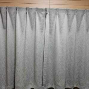 美品 遮光/防炎デザインカーテン100×140cm:2枚 グリーン リーフ/北欧デザイン 送料無料 タッセル付き