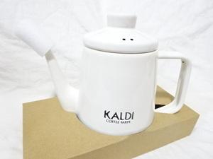 新品:KALDI コーヒー ホーロードリップケトル 1.0リットル オフホワイト:エナメル 紺色