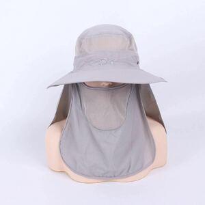 ライトグレー UVカット つば広帽子 ハット サンバイザー キャップ