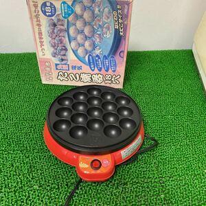 ヤキヤキ屋台 丸型 電気 たこ焼き器 18穴 YR-8159 レッド(中古品)