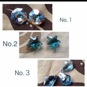 スワロフスキークリスタル アクセサリーパーツ 3種類セット ビーズ ガラスビーズ