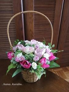 ◆どこから見てもきれい・お花いっぱい・ピンクのチューリップのアレンジメント◆造花・アレンジメント◆花倶楽部・プレゼント◆母の日