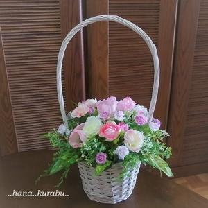 ◆どこから見てもきれい・お花いっぱい・ライトピンクのピンクのチューリップのアレンジメント◆造花・アレンジメント◆花倶楽部・プレゼン