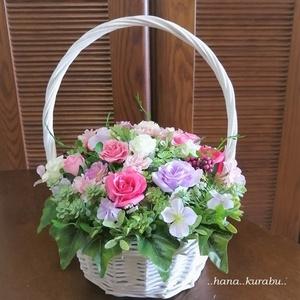 ◆どこから見てもきれい・お花いっぱい・ホワイトバスケットのアレンジメント◆造花・アレンジメント◆花倶楽部・プレゼント◆母の日