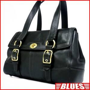 即決★COACH★レザーハンドバッグ オールドコーチ メンズ 黒 ブラック 本革 トートバッグ 本皮 かばん 鞄 レディース 手提げバッグ