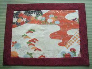 香道具・地敷・打敷・正絹新品訪問着から・別染・霞に松紅葉菊・貴人・一点物・手縫い・各流派
