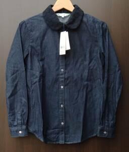 【定価14000円】美品 タグ付き 組曲 KUMIKYOKU 長袖 シャツ 2 レディース 藍色 インディゴブルー