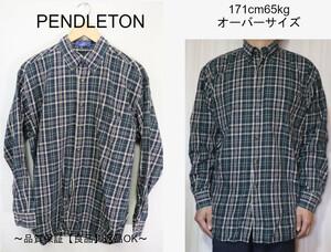 【メンズ】【良品保証返品OK】PENDLETONグリーンチェックBD長袖シャツ/USA老舗良品M