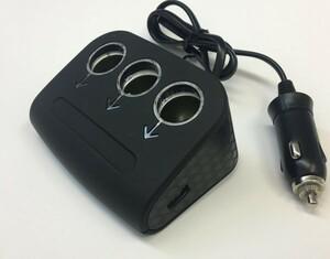 コンバーター3連ソケット&USBマッドブラック