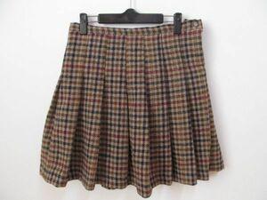 (40773)BEAMS BOY ハリスツイード ビームス チェック ウール タック プリーツ スカート ベージュ系 1号 USED