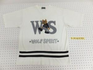 〈レターパック発送〉WOLF SPIRIT メンズ 刺繍入り Vネック 半袖Tシャツ オフホワイト 白