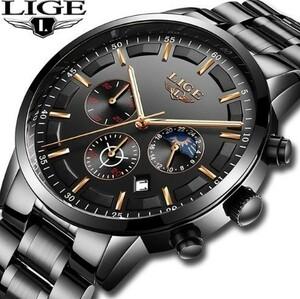 ▼Relojes 腕時計メンズ LIGE スポーツクォーツ時計メンズ腕時計トップブランド 高級ビジネス防水時計 レロジオ Masculino