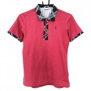 ASHWORTH アシュワース 半袖ポロシャツ レッド×黒 一部チェック柄 ハーフジップ レディース M ゴルフウェア