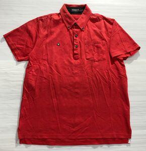《le coq sportif GOLF ルコックゴルフ》ロゴ刺繍 ダイヤ織り柄 ボタンダウン 半袖 ポロシャツ レッド LL
