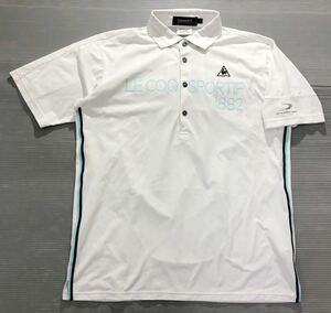 《le coq sportif GOLF ルコックゴルフ》ホワイトライン ロゴ刺繍 ビッグロゴプリント 半袖 ポロシャツ ホワイト L