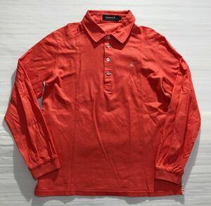 《le coq sportif GOLF ルコックゴルフ》ロゴ刺繍 コットン 長袖 ポロシャツ ピンク L