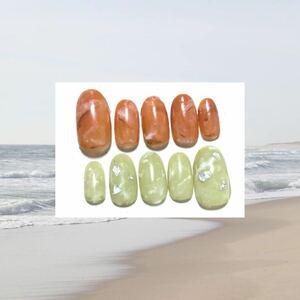 ネイルチップ オレンジグリーン ジェルネイル ハンドメイド 付け爪