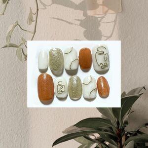 ネイルチップ 付け爪 ベリーショート ネイルアート ブラウン 線画 キラキラ ラメ オレンジ オーバル