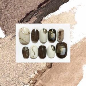 付け爪 ネイルチップ ブラウン 淡色 ホワイト ゴールド ラメ ミラー ハンドメイド