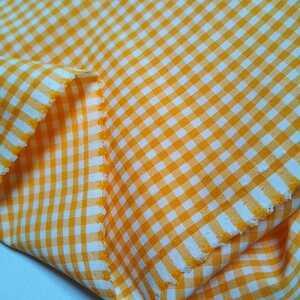 ギンガムチェックオレンジ×白/4m×巾108cm/播州織/優しい肌触り/ストレッチ/No.8505