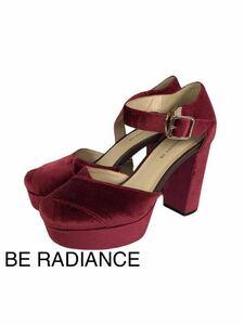 K172/BE RADIANCE/ビーラディエンス/靴/パンプス/ハイヒール/ベロア/箱なし/Sサイズ/ボルドー/深い赤/【小物】-ш