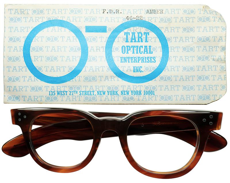 高尚ダンディ ハイエンドUSヴィンテージ眼鏡1950-60sデッド USA製オリジナル TART OPTICAL タートオプティカル タート FDR AMBERsize46/22