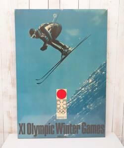昭和レトロ 当時物*72 SAPPORO 昭和47年 札幌オリンピック*第11回オリンピック冬季競技大会 *大型パネル*冬季オリンピック スキー