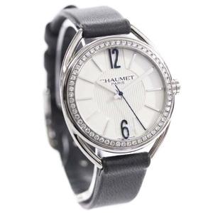 即決 ショーメ リアン ダイヤベゼル 腕時計 レディース クオーツ ホワイト文字盤 シルバー ダークグレー W23211-01A