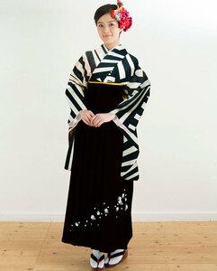 二尺袖 着物 袴フルセット 半身仕立て 黒×ベージュ 袴変更可能 着物丈はショート丈 新品(株)安田屋 NO32159