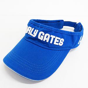 【即決】PEARLY GATES パーリーゲイツ メンズ サンバイザー ブルー系 サイズ free ゴルフ ロゴ 刺繍 ゴルフウェア 帽子 [R0855]
