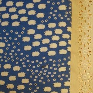 YUWA 「Cotorienne sheeeeep」 ダブルガーゼ ひつじ柄 ブルー 生地巾約108cm×50cm