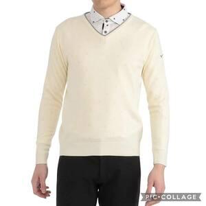 新品 ミズノ ゴルフ Ⅴネック セーター 2XL 白 ホワイト 52JC9A2001 定価9,900円+税 メンズ ゴルフウェア MIZUNO 日本製