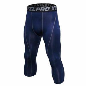 送料無料 新品 ランニングウェア 七分丈 タイツ メンズ Mサイズ ネイビー パンツ トレーニング スポーツ アウトドア 加圧 スパッツ 1051