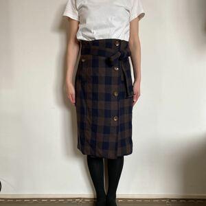 アダムエロペ ADAM ET ROPE' アダムエロペ 巻き ラップ スカート size36 S-Mサイズ チェック タイトスカート 巻きスカートハイウエスト