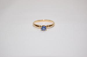 4℃ ヨンドシー K18 イエローゴールド サファイヤ リング 指輪 サイズ約8号 9月誕生石 レディスリング