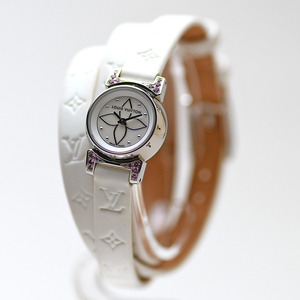 ルイヴィトン LOUIS VUITTON タンブールビジュ トリプルコイルド 100本限定モデル Q151I0 クォーツ ホワイトシェル レディース 腕時計 美品