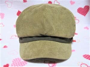 persodea キャスケット M(57.5cm) 茶  コーデュロイ ブラウン 帽子 キャップ ハット 送料無料!