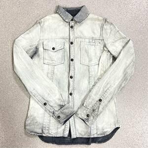 国内正規品 美品 DIESEL BLACK GOLD ディーゼル ブラックゴールド クラッシュ デニム シャツ ジャケット レディース 38 S~M レア!