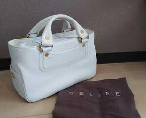 送料無料◆美品◆CELINE ブギーバッグ トートバッグ 白 ホワイト セリーヌ バック ブギー ハンド ゴールド金具