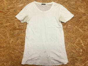 バルマン BALMAIN ブルーベルジャパン インポート グランジ 無地 インナー 半袖Tシャツ メンズ フランス製 薄手 XS 白