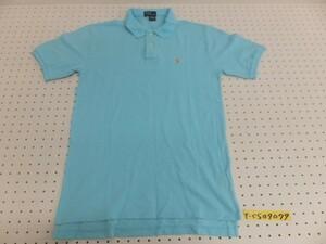 〈送料280円〉POLO RALPH LAUREN ラルフローレン メンズ ワンポイントロゴ刺繍 半袖ポロシャツ 水色