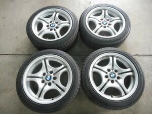 【BMW】E46/M3 Mスポーツ[純正]アルミ☆7.5J×17+41/8.5J×17+50 PCD120-5穴☆IG50 205/50R17、225/45R17[輸入1703]冬用 千曲
