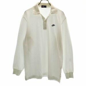 ナイキ 80s 紺タグ ワンポイント ロゴ刺繍 鹿の子 長袖 ポロシャツ O ホワイト NIKE メンズ 210330