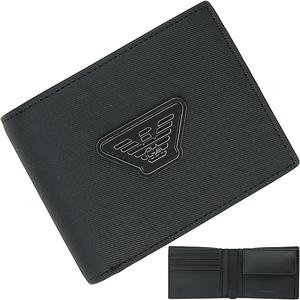 155933 新品 エンポリオアルマーニ 新作 二つ折り財布 コンパクトウォレット サイフ 小物 小銭入れ有 PVC フェイクレザー メンズ 男性用