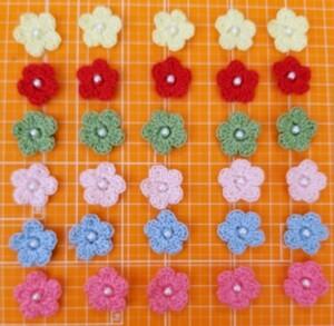 #4 ハンドメイド手編み ビーズ付きフラワー モチーフ 全30枚セット