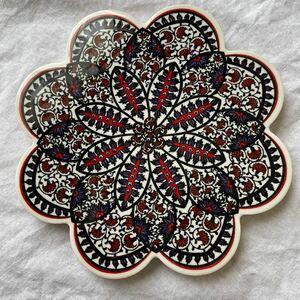 トルコ陶器製鍋敷きiznik03トリベット艶のある美しい鍋敷きタイル風鍋敷き キッチン雑貨 アクセサリートレイや花瓶置きにも